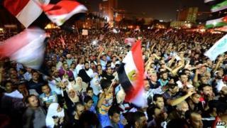 Supporters of Mohammed Mursi in Tahrir Square on Thursday
