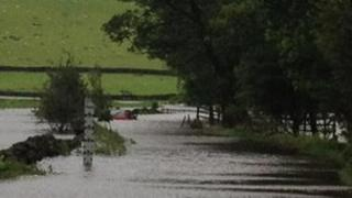 Flooding at Carleton in Craven in North Yorkshire