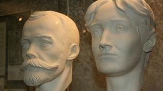Busts of the late Tsar Nicholas II and his wife Alexandra on display at the Russian State Archives in Moscow