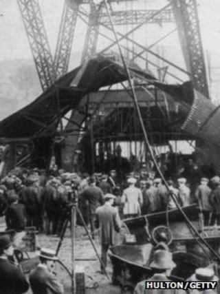 The pithead wrecked by the explosion