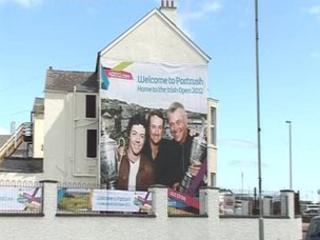 Irish Open sign in Portrush
