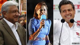 Andres Manuel Lopez Obrador )left), Josefina Vazquez Mota (centre), Enrique Pena Nieto (right)