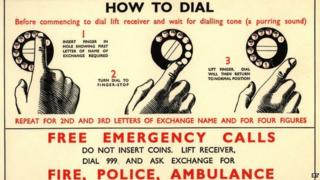Poster from BT archives with instructions on how to dial 999