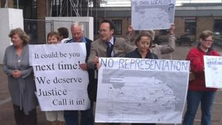 King's Lynn incinerator protesters outside of County Hall, Norwich
