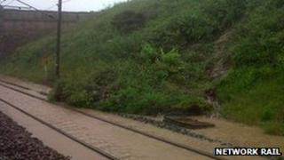 Landslip on East Coast main line at Scremerston, Northumberland (Credit: Network Rail)