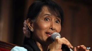 Myanmar opposition leader Aung San Suu Kyi takes part in a debate with French students at the Sorbonne University, in Paris