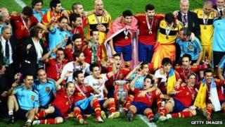 Spain celebrate winning Euro 2012 in Kiev