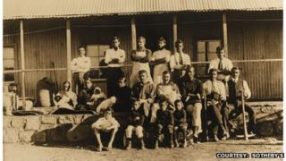 Gandhi and Kallenbach (middle row, centre) at Tolstoy Farm, South Africa, 1910