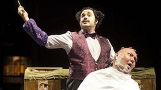 Jason Manford with unnamed co-star in Sweeney Todd. Photo by Helen Maybanks