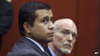 George Zimmerman, left, and lawyer Don West at a bond hearing in Sanford, Florida 29 June 2012