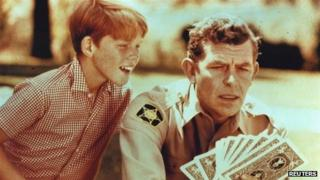 Actors Andy Griffith (right) and Ron Howard in a scene from The Andy Griffith Show