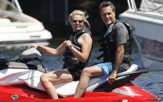 Mitt Romney and wife Ann on holiday at Lake Winnipesaukee in Wolfeboro, New Hampshire on 5 July 2012