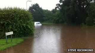 Flooding on Roman Way, Ross-on-Wye