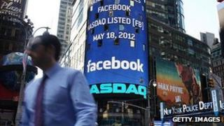Facebook logo at Nasdaq