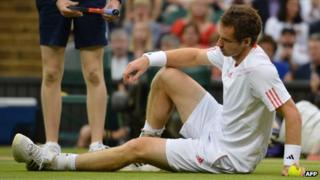 Andy Murray takes a tumble in 2012 Wimbledon final