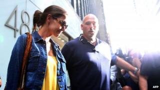 US actress Katie Holmes leaves her lawyer's office in New York City on 7 July 2012