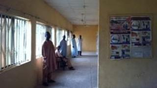 Corridor in basic clinic in African village