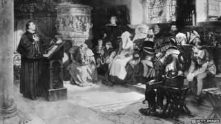 Circa 1521, Martin Luther preaching to a small congregation