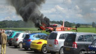 The plane on fire at Cotswold Airport