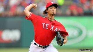 Yu Darvish pitching for the Texas Rangers