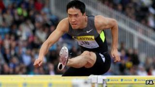 Liu Xiang in the Men's 110m hurdles during day one of the 2012 Diamond League London Grand Prix at Crystal Palace, 13 July 2012