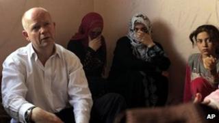 William Hague visiting the Bashabsheh refugee camp in Jordan