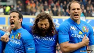 Gonzalo Canale, Martin Castrogiovanni and Sergio Parisse of Italy sing the Italian National Anthem during the RBS Six Nations tournament in 2011
