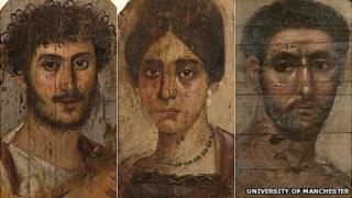 Portrait panels of mummies
