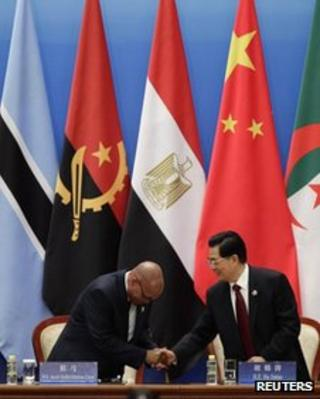 China's President Hu Jintao (R) shakes hands with South Africa's President Jacob Zuma during the opening ceremony of the Fifth Ministerial Conference of the Forum on China-Africa Cooperation (FOCAC) at the Great Hall of the People in Beijing, 19 July, 2012