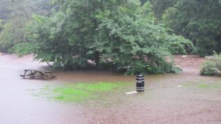 Bridge of Allan, flooded park