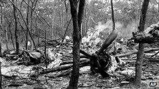 The crash site of Dag Hammarskjold's DC6 plane