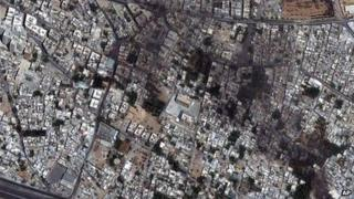 A satellite image provided by DigitalGlobe of the Qaboun neighbourhood in Damascus, Syria (18 July 2012)