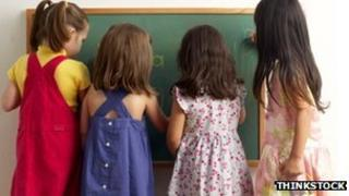 Girls at the blackboard