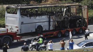 Wrecked bus at Burgas airport (19/07/12)