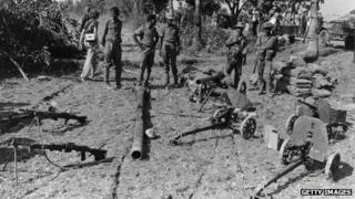 Mukti Bahini troops on the Indian side of the border in 1971