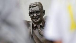 Statue of former Penn State University football coach Joe Paterno stands outside Beaver Stadium July 21