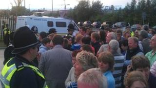 Protesters at milk plant in Leeds on 24 July 2012