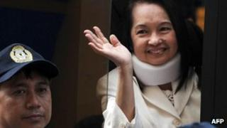 File photo taken on 23 February, 2012 of former Philippine president Gloria Arroyo after appearing in court in Manila
