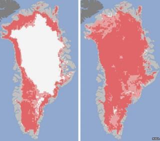 Satellite images showing Greenland's ice sheet melt