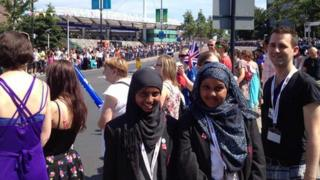 School Reporters at torch relay in Wembley