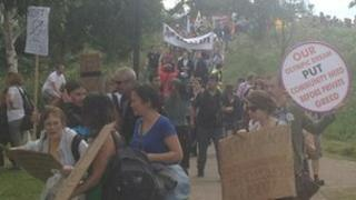 Protesters at the demonstration