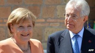 German Chancellor Angela Merkel and Italian Prime Minister Mario Monti on 4 July