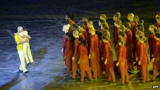 Akram Khan performs during the opening ceremony of the Olympic Games