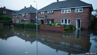 Flooded Ladas Drive, East Belfast
