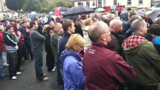 Supporters at a rally in support of Sean Quinn in Co Cavan