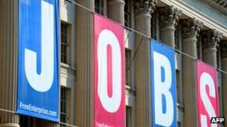 A jobs sign is seen on the front of the US Chamber of Commerce building in this September 2, 2010