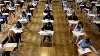 school pupils sitting exam