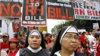 File photos of nuns marching in protest against the Reproductive Health Bill
