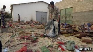 Men looking at blast site