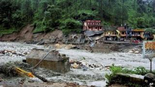 An overflowing river after a flash flood in Uttarkashi district on Saturday 4 August 2012